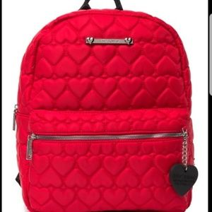 Betsey Johnson Heart Quilt Red Backpack